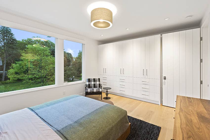 Bedroom with semi flush drum light with fabric shade