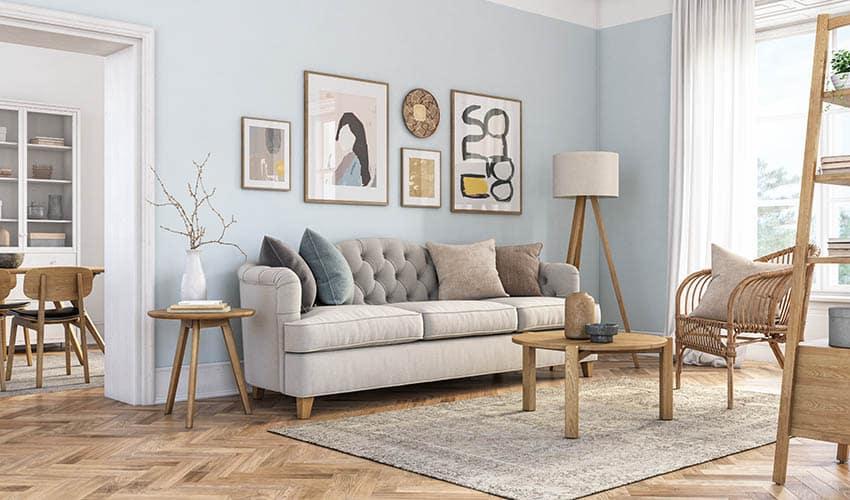 Beige linen couch in living room
