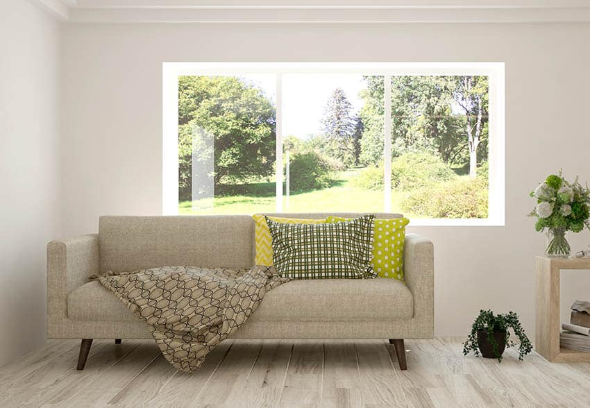 Bright living room with large picture window behind couch