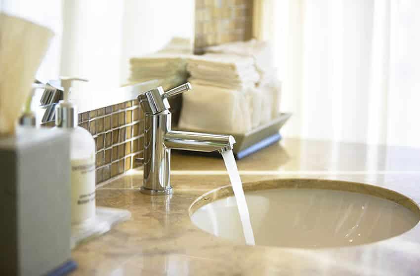 Chrome finish bathroom faucet