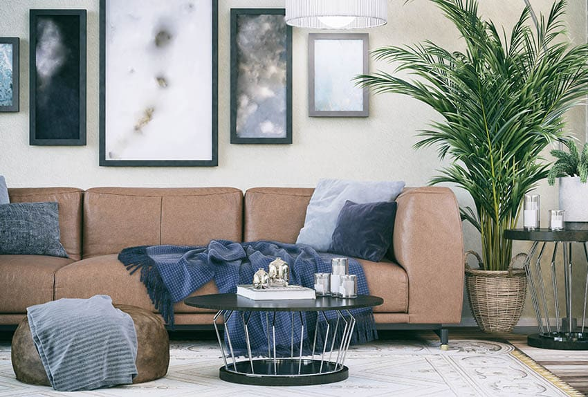 Comfy living room with leather couch