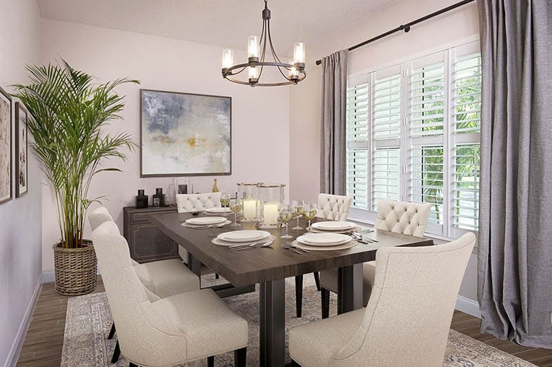 Contemporary dining room plantation shutters curtains wood look flooring
