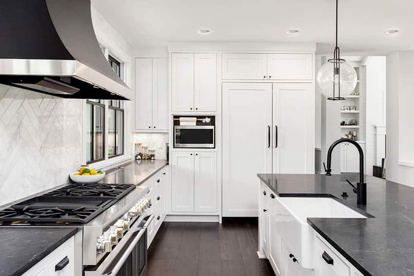 Contemporary kitchen with black slate countertops