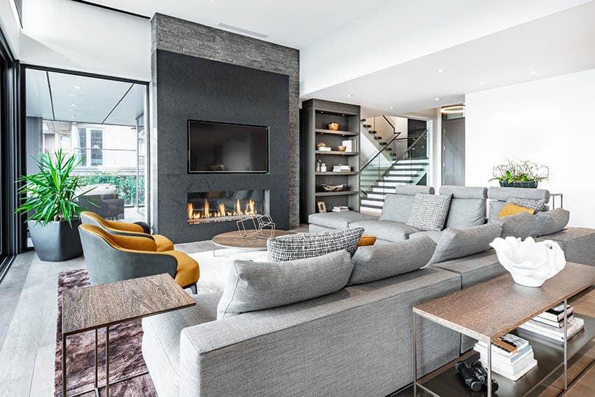 Contemporary living room with custom fitted sectional sofa