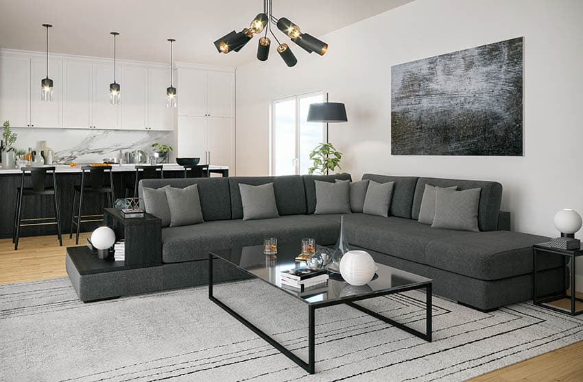 Contemporary sectional sofa in open concept living room