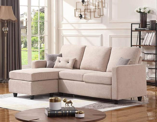 Convertible linen couch with ottoman