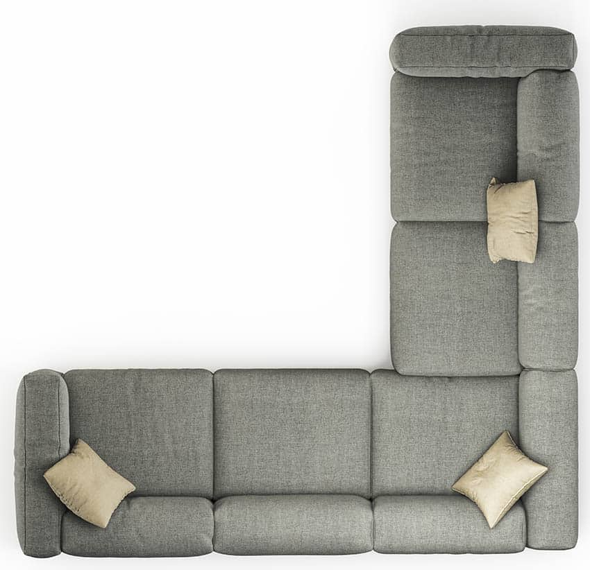 Corner l shaped sectional sofa from above