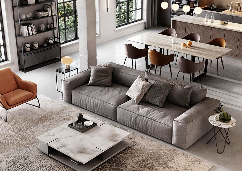 Cotton fabric couch in modern loft apartment