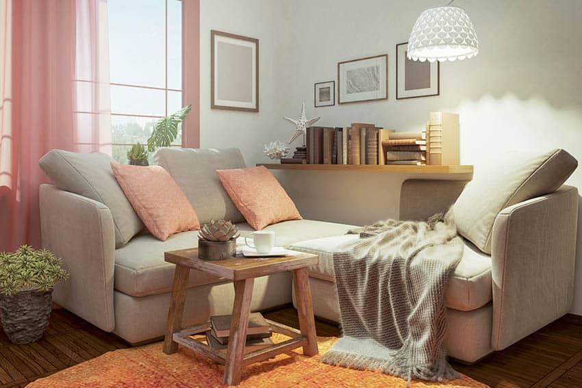 Cozy corner fabric sofa