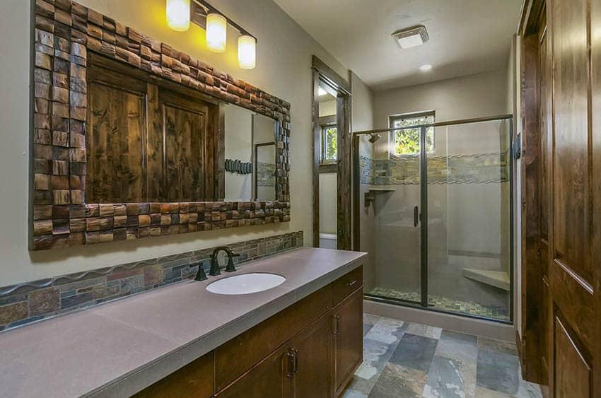 Craftsman bathroom with walk in shower and corner bench