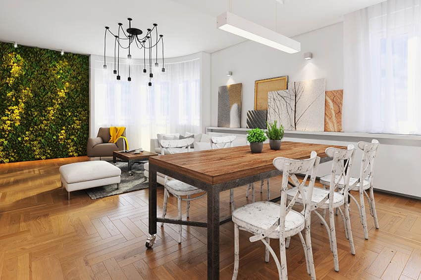 Dining room with spider ceiling light fixture and linear light