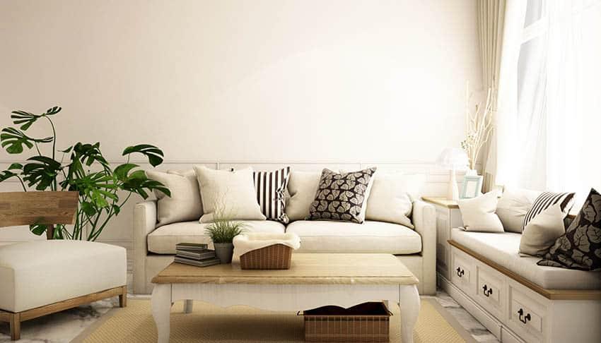 Fabric sofa in living room