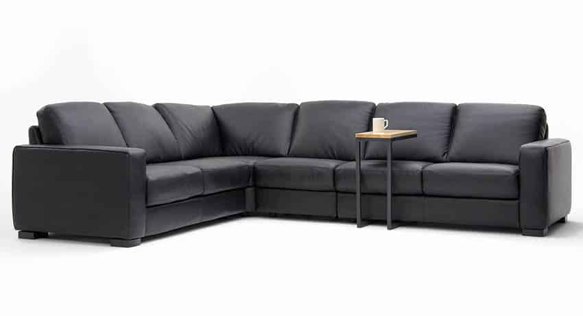 Fake leather sectional sofa with coffee tray