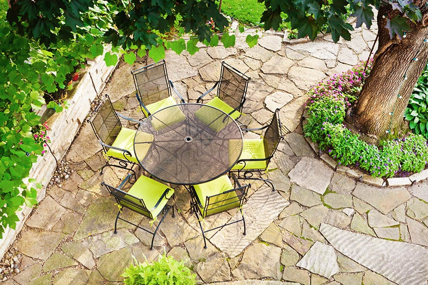 Flagstone patio with outdoor dining table