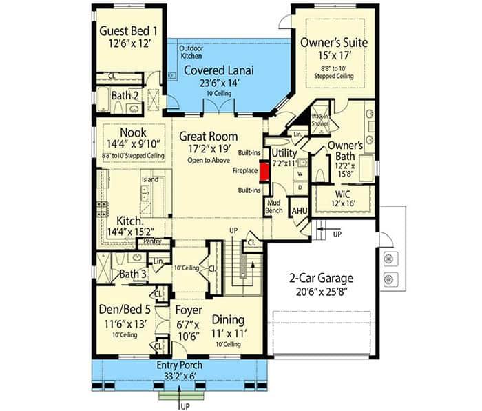 Florida house floor plan 1st floor