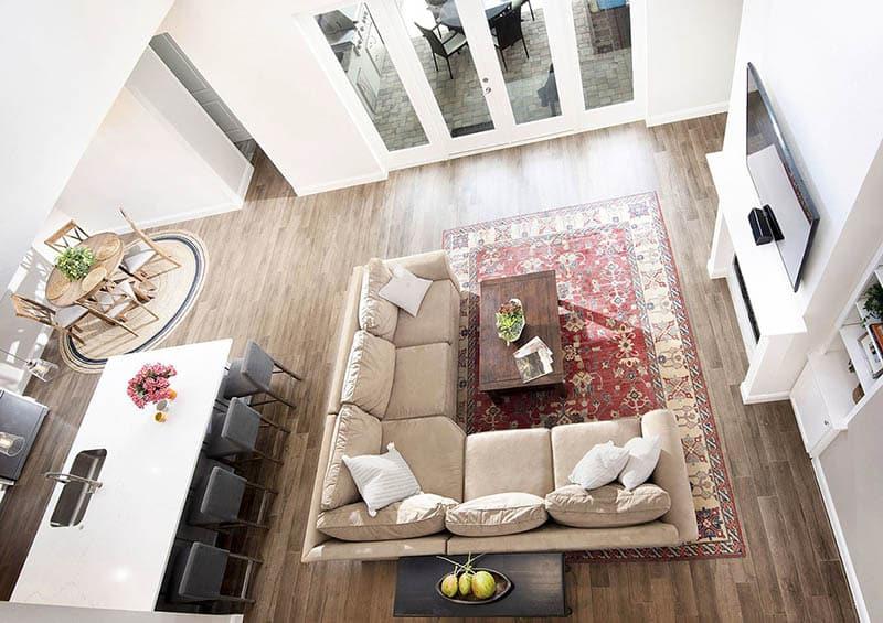Florida house plan open concept living room kitchen