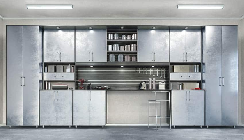 Garage with utility ceiling lighting metal storage cabinets workshop countertop