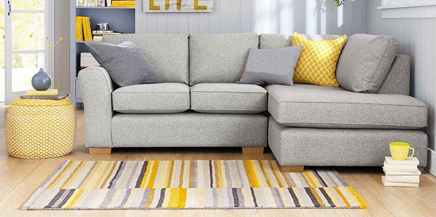Gray corner sectional sofa