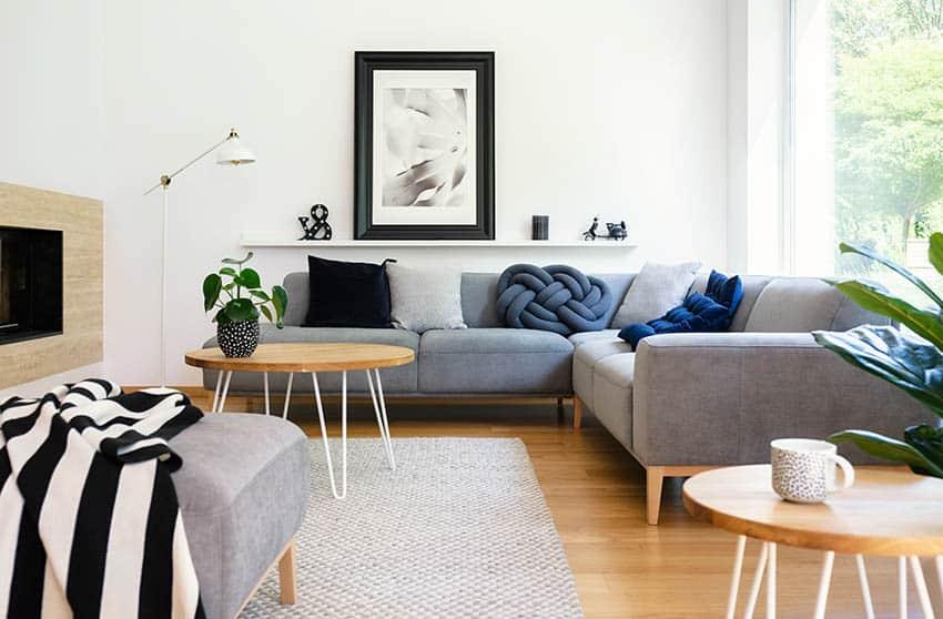 Gray microfiber sectional sofa in modern living room