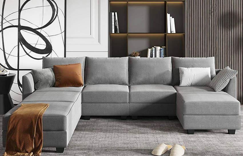Gray modern modular sectional sofa