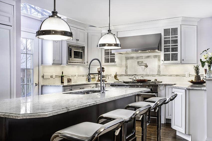 Kitchen island with metal pendant lights chrome bar stools
