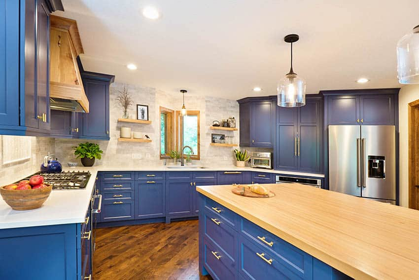 Kitchen with blue painted cabinets