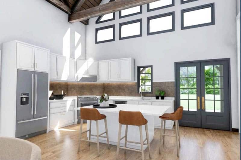 L shaped kitchen with island wide picture windows beamed ceiling
