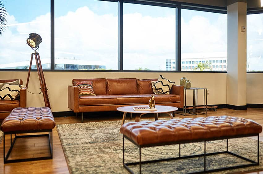 Leather couch in penthouse apartment