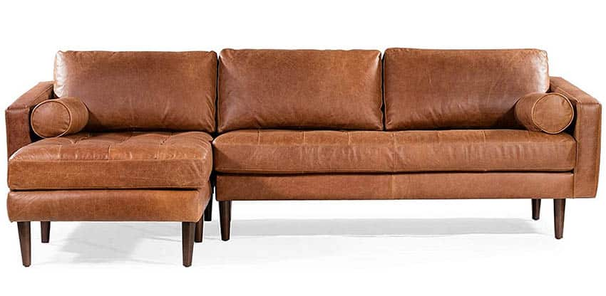 Leather sectional sofa with left facing design