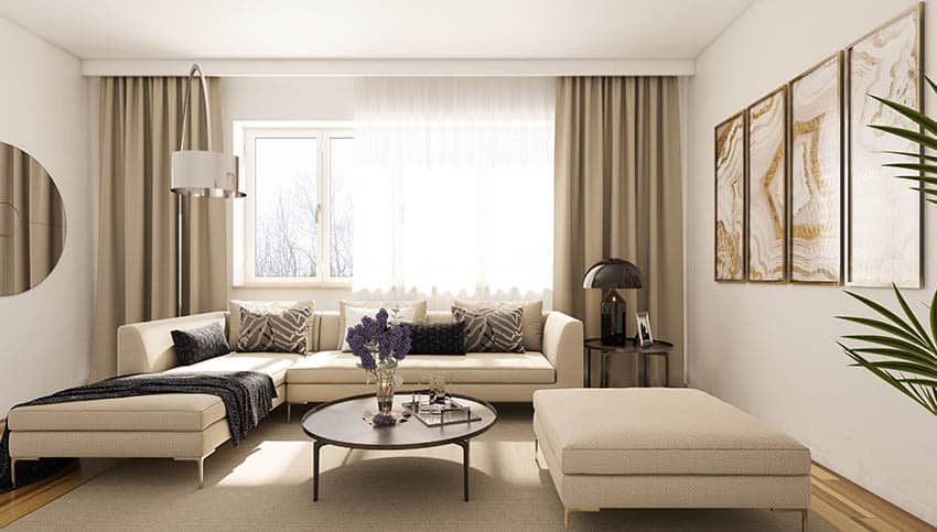 Living room with beige curtains
