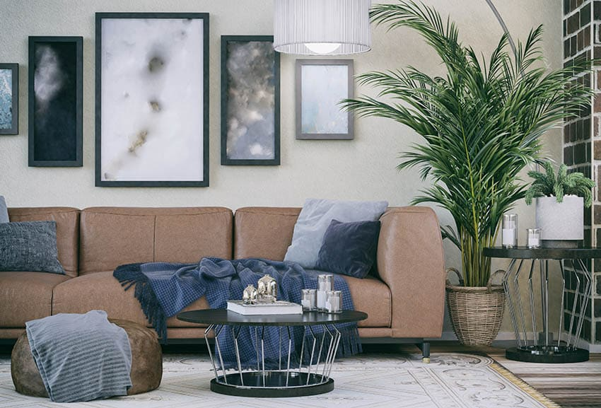 Living room with faux leather couch