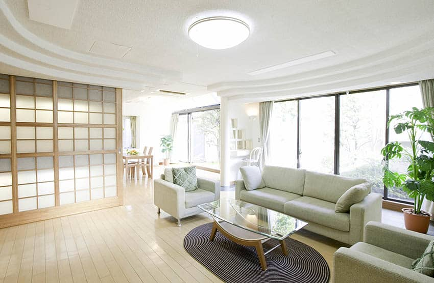 Living room with flush light ceiling fixture
