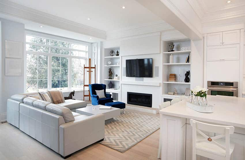 Living room with picture windows with grids