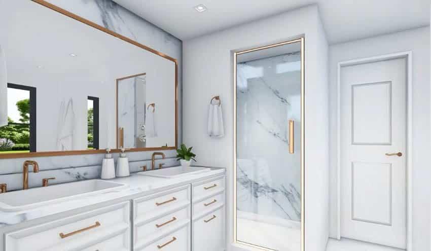 Master bathroom design plan with marble countertops white vanity steam shower