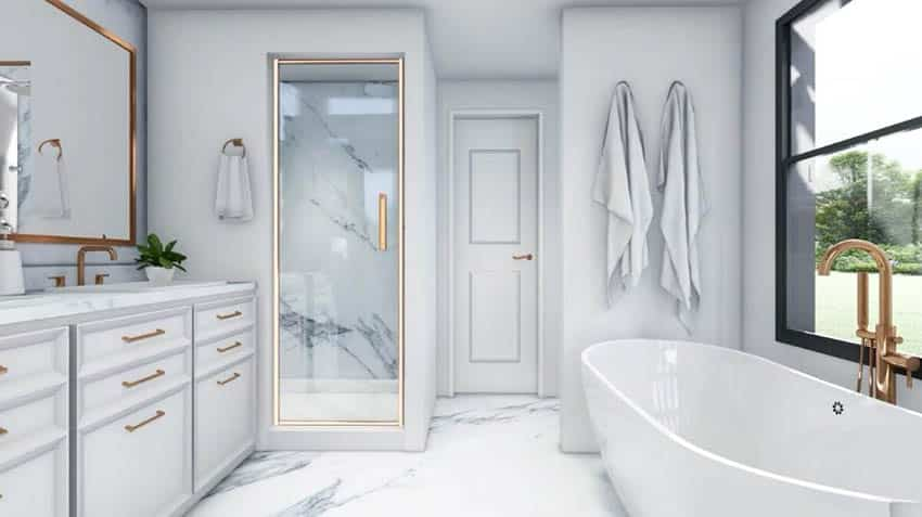 Master bathroom with freestanding tub steam shower marble floors