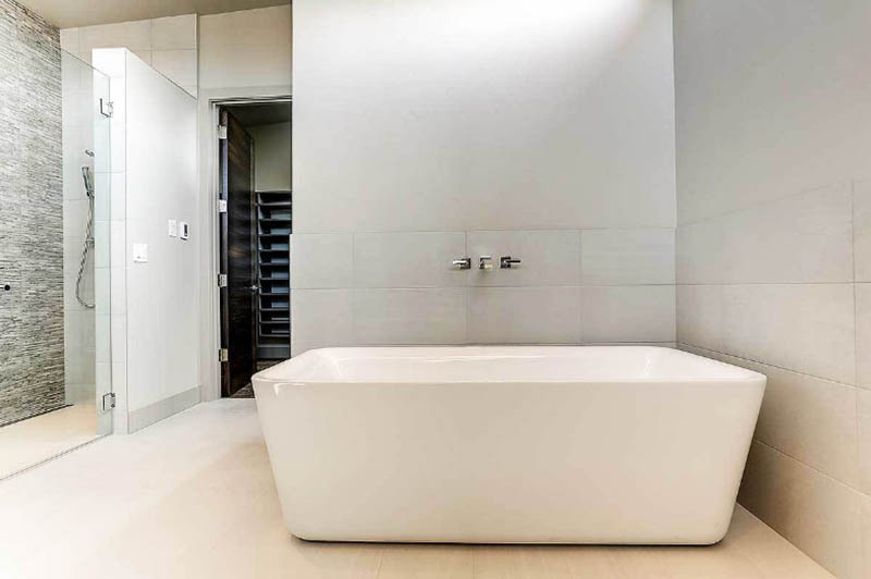 Master bathroom with freestanding tub walk in shower