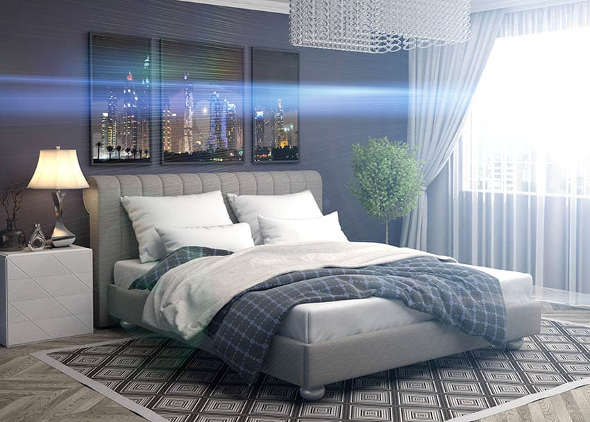 Master bedroom with assortment of pillows on bed