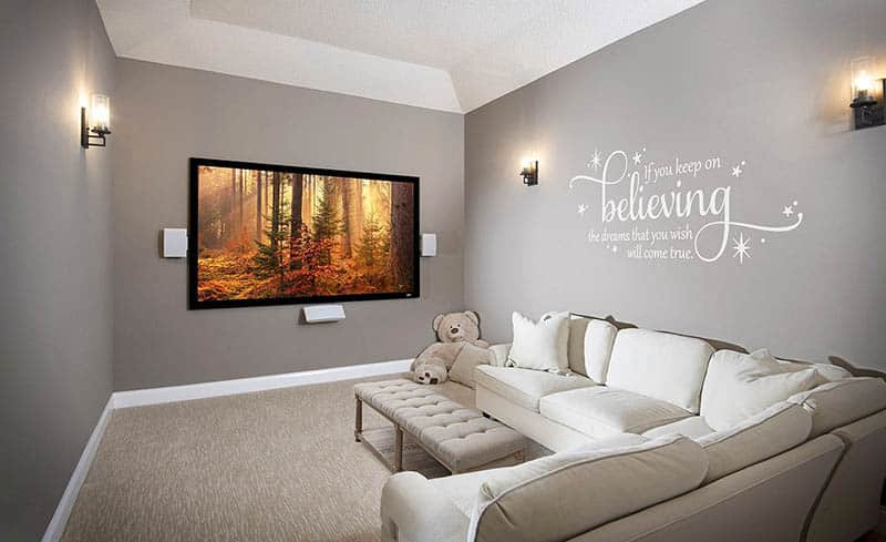 Media room with large tv sectional sofa