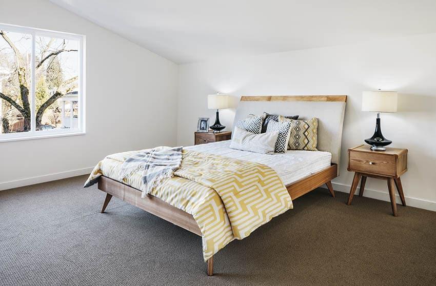Mid century modern bedroom with wool carpet