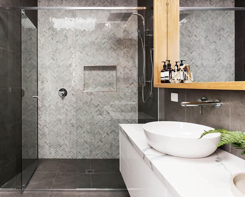Modern guest bathroom with walk in shower glass door