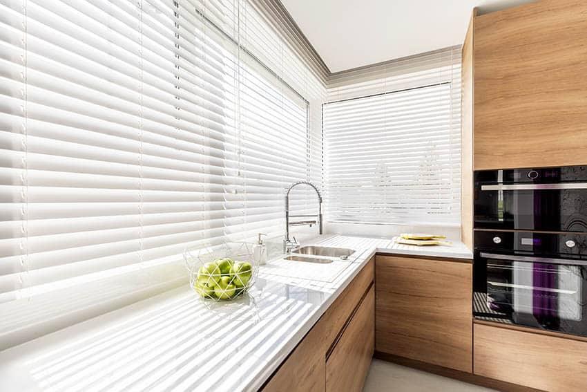 Modern kitchen with window blinds