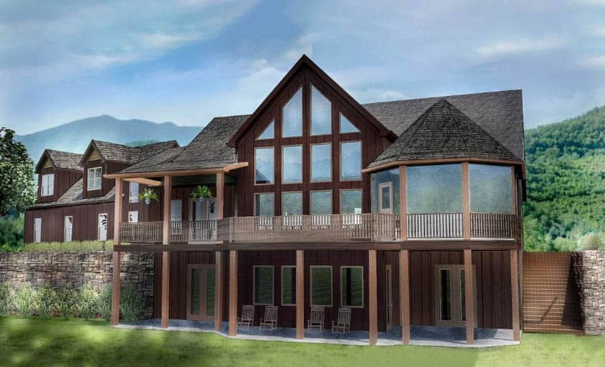 Mountain cottage home design with vaulted ceiling covered porch elevated deck