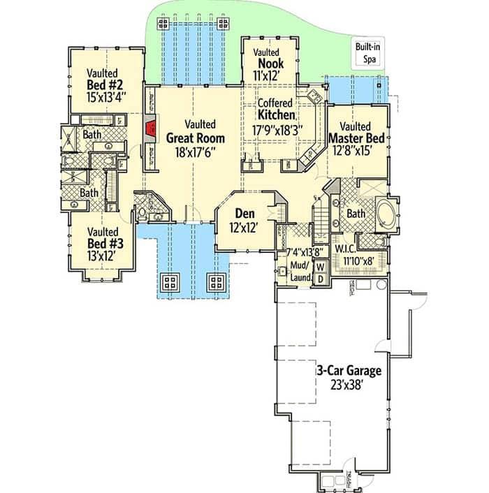 Mountain craftsman house floor plan with 2 story 3 car garage backyard patio