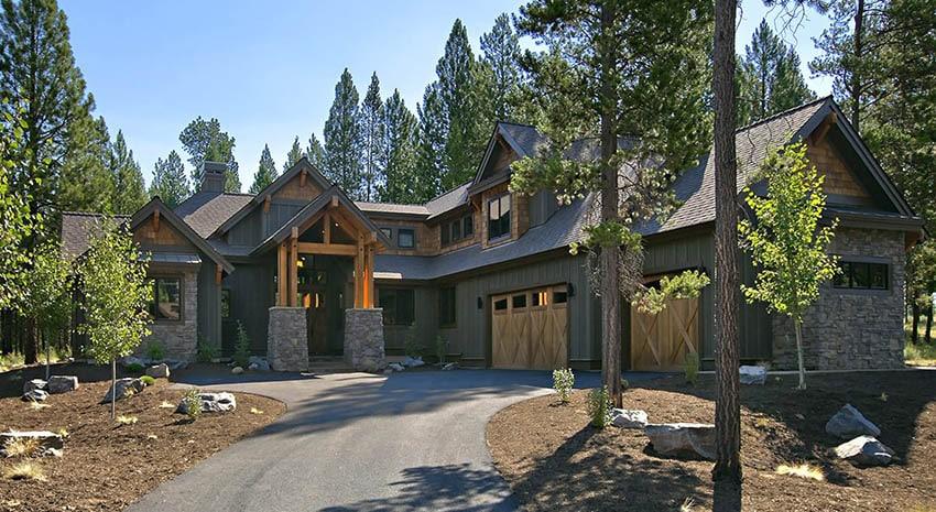 Mountain craftsman house plan 4 bedrooms 3 car garage gabled roof