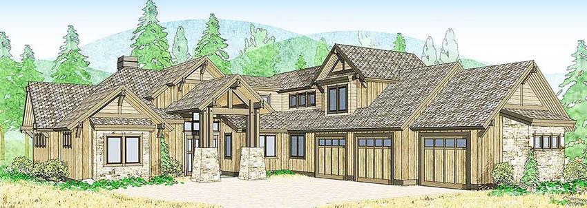 Mountain craftsman house plan rendering