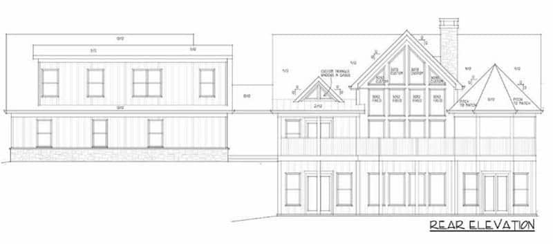 Mountain home plan rear elevation