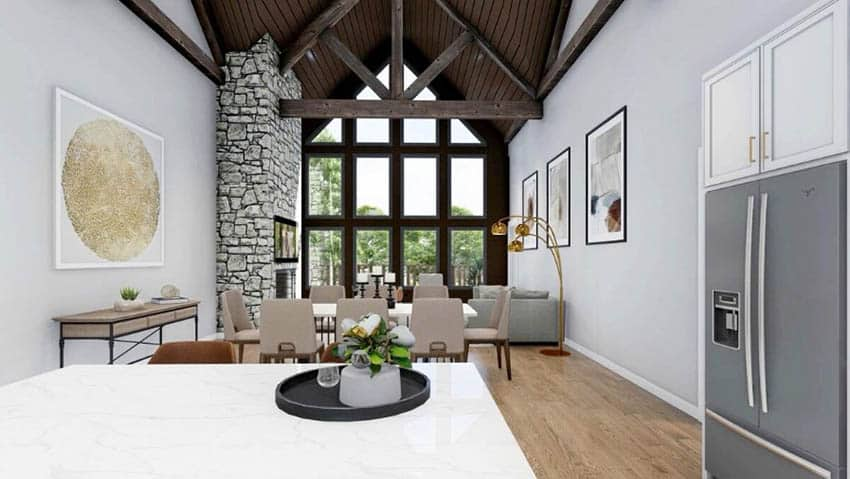 Mountain house design open concept kitchen to living room