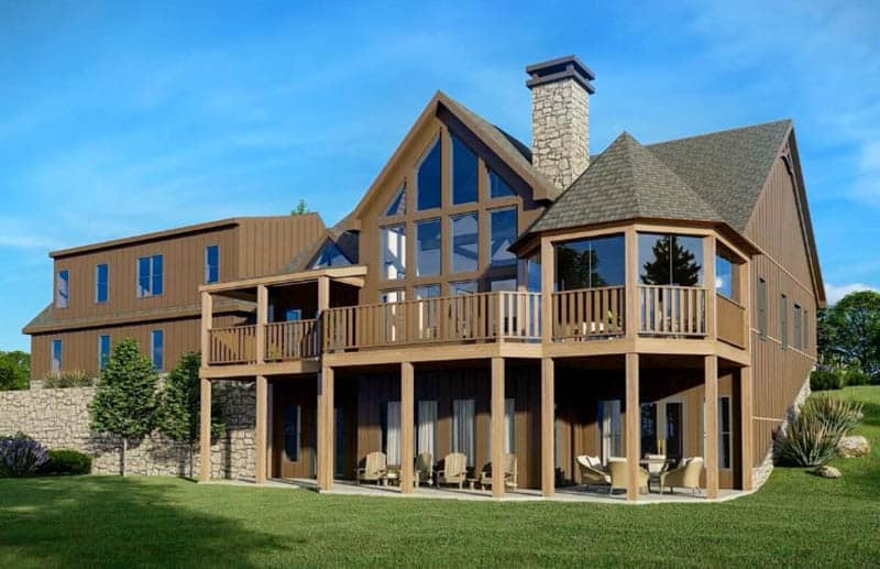 Mountain house design plan with stone fireplace covered patio elevated deck