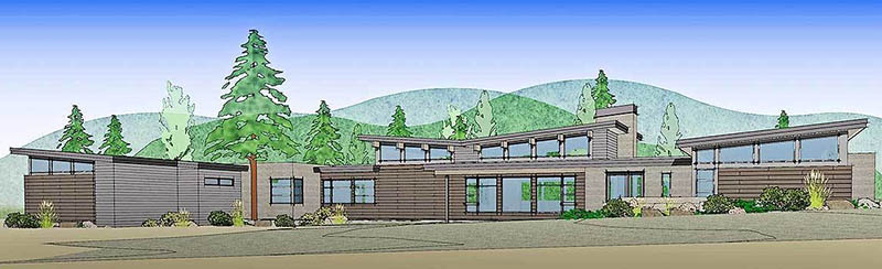 Mountain ranch house design rendering front