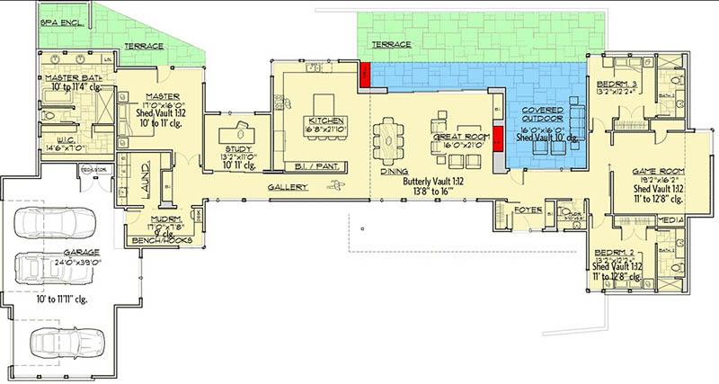 Mountain ranch house floor plan main level